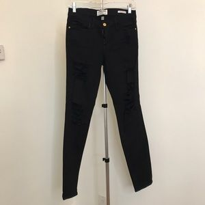 Frame Woman's Black Distressed Jeans Size 27
